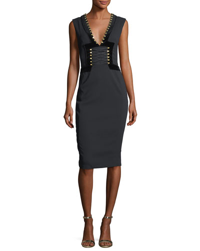 Adriana Lace-Up Sheath Cocktail Dress