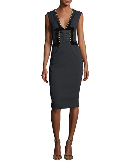 Adriana Lace-Up Sheath Cocktail Dress