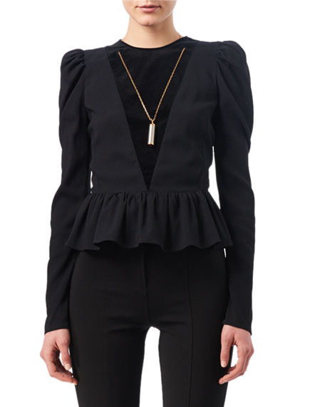 Pasqua Chain-Trim Peplum Top