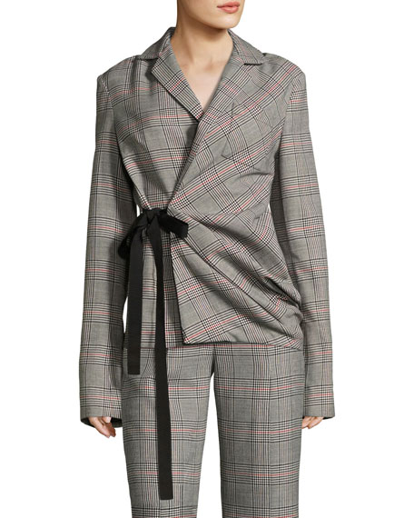 Swaggy Plaid Side-Tie Jacket