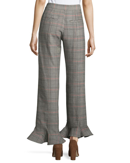 Cropped Ruffle-Hem Plaid Pants