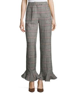 Cropped Ruffle-Hem Plaid Pants