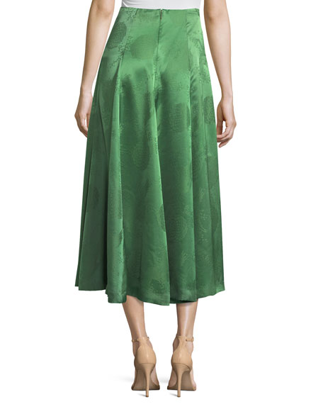 Loop-Button Silk Brocade Midi Skirt