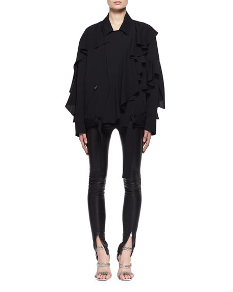 Double-Georgette Ruffle Bomber Blouse