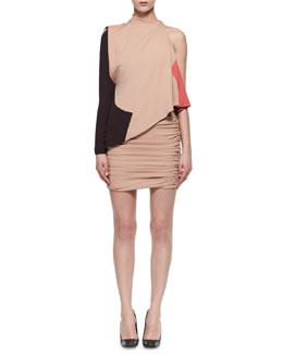 Cold-Shoulder Colorblock Dress