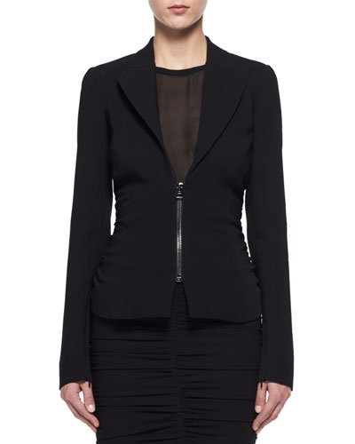 Zip-Front Stretch-Cady Jacket
