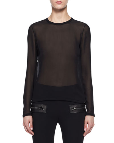 Sheer Georgette Long-Sleeve Top