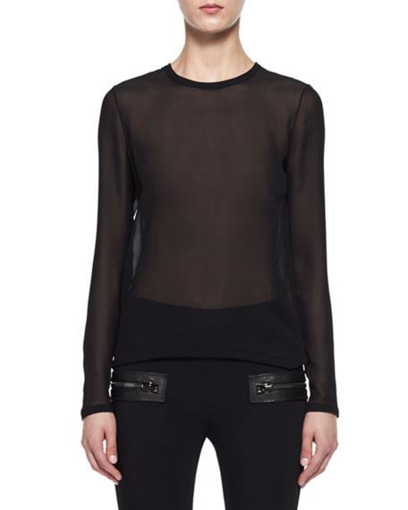Sheer Georgette Long-Sleeve Top