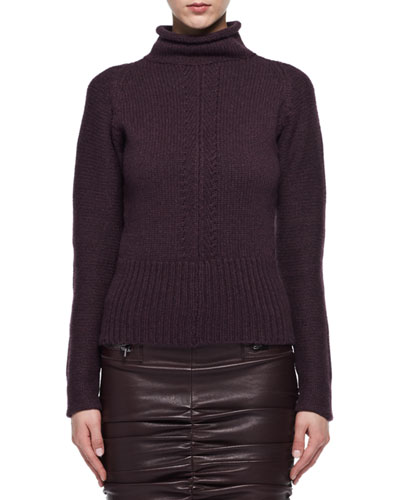 Compact Knit Cashmere Funnel Sweater