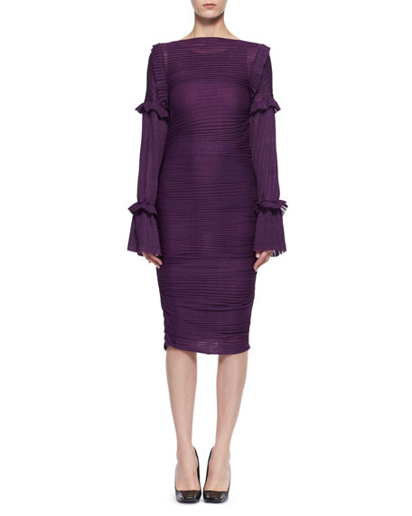Long-Sleeve Ruched Knit Dress