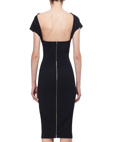Short-Sleeve Backless Sheath Dress