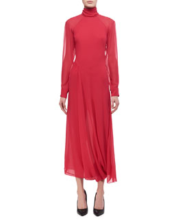 Open-Back Turtleneck Midi Dress
