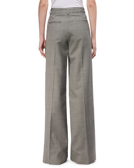 Wide-Leg Houndstooth Trousers