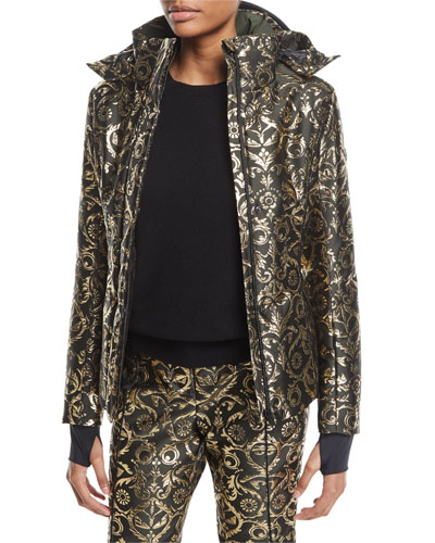 Metallic Brocade Ski Jacket w/Fur Trim