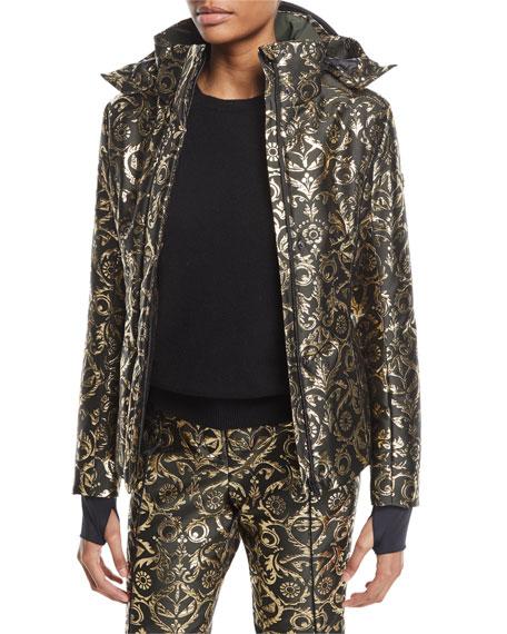 Metallic Brocade Ski Jacket w/Fur Trim
