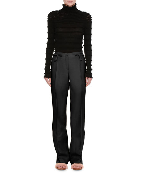Crepe Couture Bow-Waist Pants