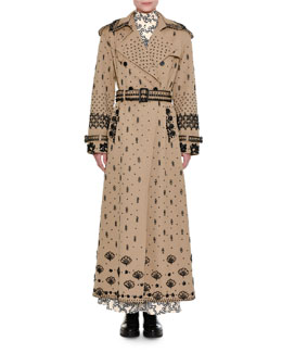 Beaded Gabardine Ankle-Length Trench Coat