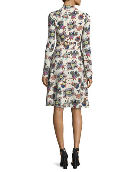 Pop-Flower Tie-Neck Long-Sleeve Dress