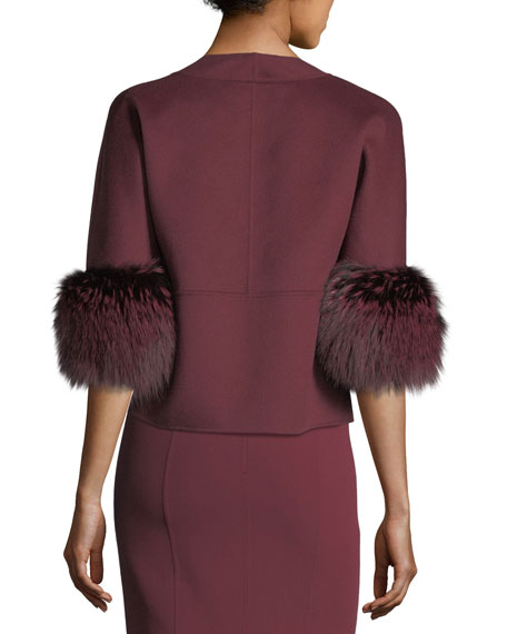 Fur-Cuff Open-Front Jacket