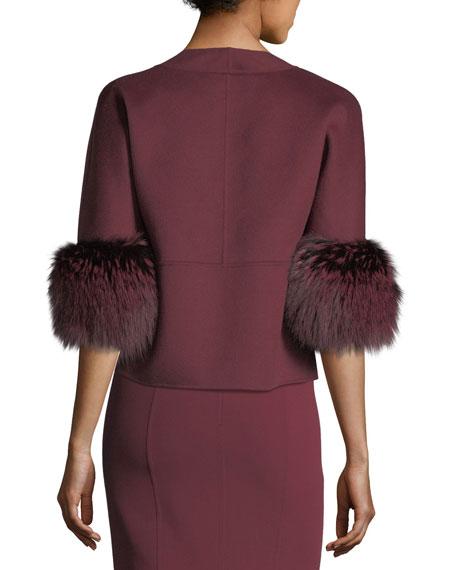 Fur-Cuff Open-Front Jacket