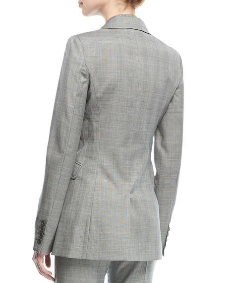 Angela Double-Breasted Wool Check Blazer