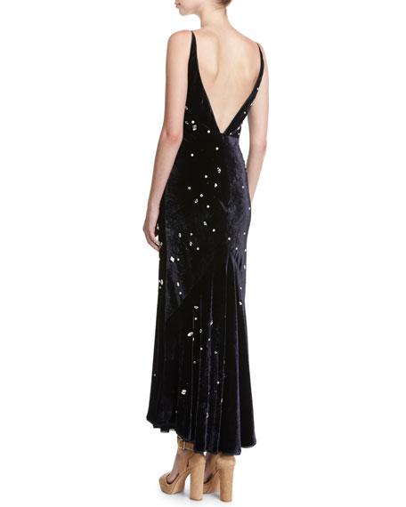 Bridget Crystal-Embellished Velvet Midi Cocktail Dress