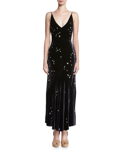 Bridget Crystal-Embellished Velvet Midi Cocktail Dress