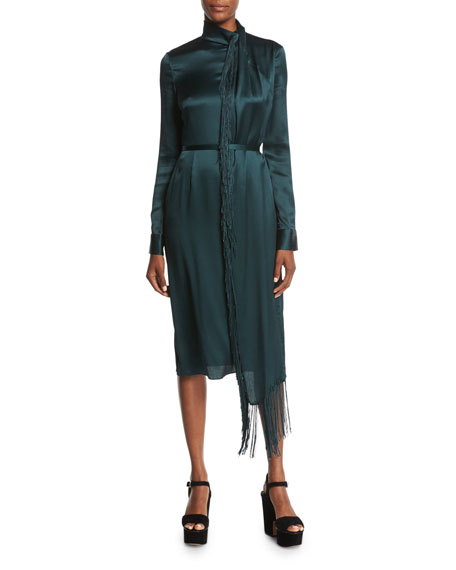 Kelley Fringed Tie-Neck Dress