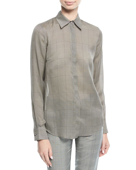 Henri Plaid Check Silk Blouse