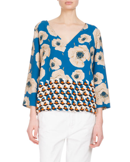 Couscous Printed V-Neck Top