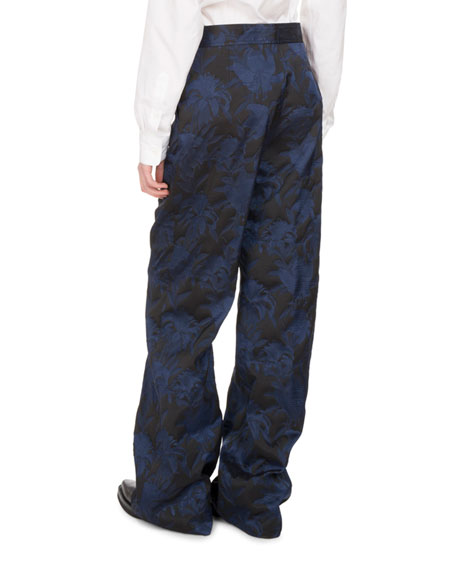 Panter Brocade Wide-Leg Pants