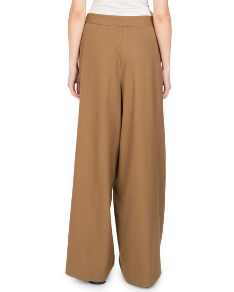 Pamplona Wide-Leg Button-Waist Pants