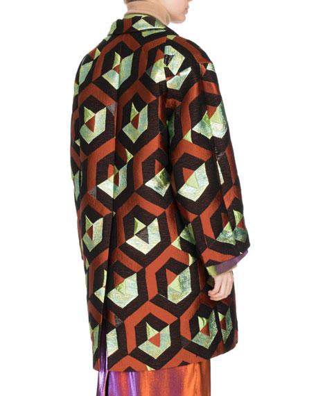 Rodel Geometric Lamé Cocoon Coat