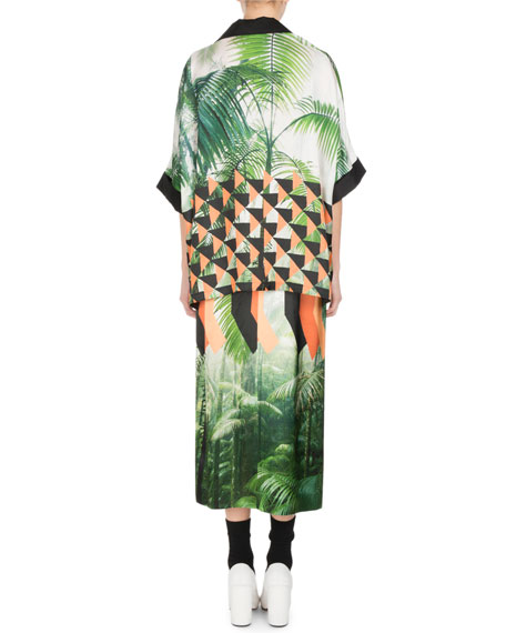 Curvali Palm-Print Popover Top