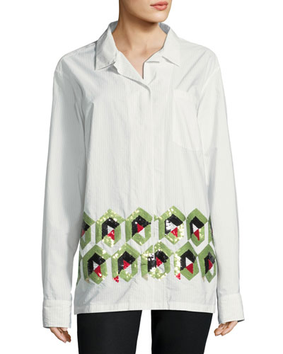 Cliver Geometric-Embroidered Cotton Blouse