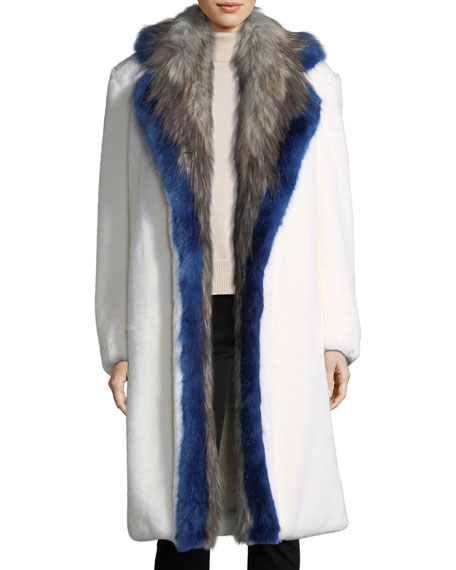 Rentin Faux-Fur Notch-Collar Coat