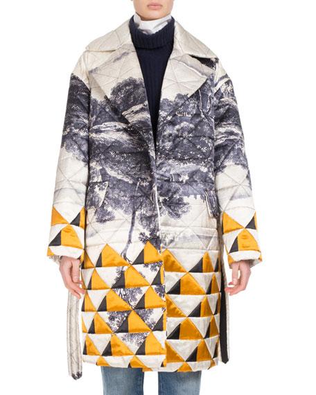 Rhonda Quilted Landscape-Print Coat