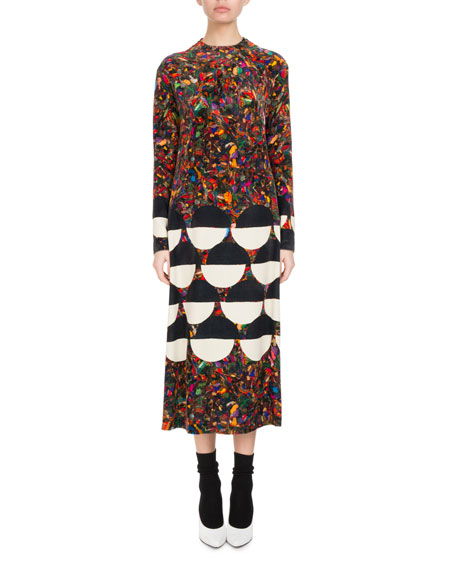 Dashi Mixed-Print Velvet Midi Dress