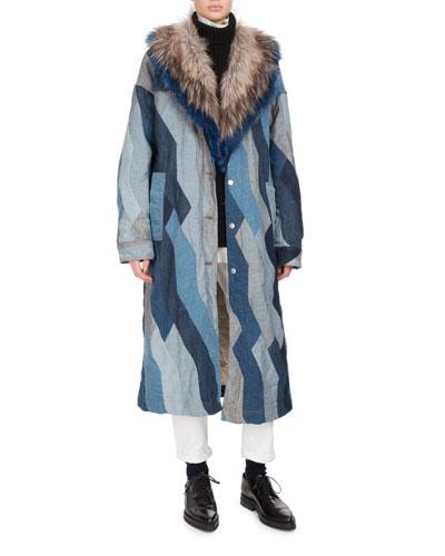 Rift Faux-Fur Patchwork Denim Coat