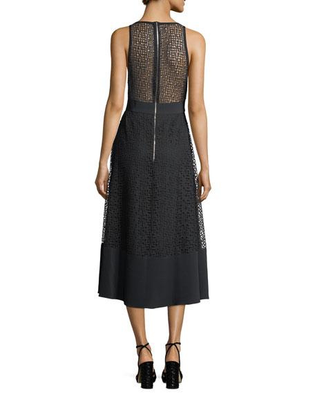 V-Neck Macrame Tea-Length Dress