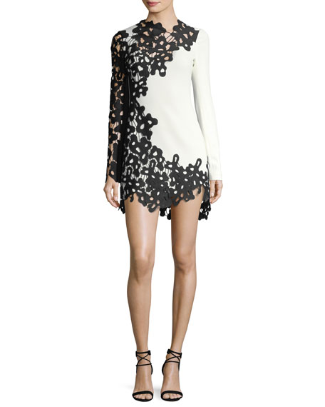 2b285b7d89 David Koma Long-Sleeve Two-Tone Lace Dress