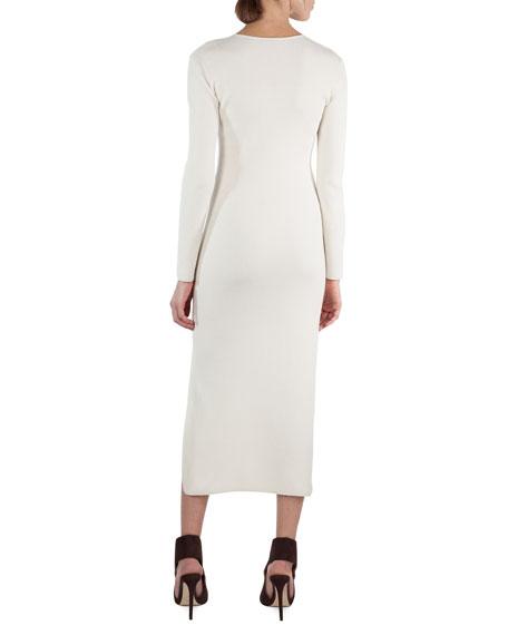 Long-Sleeve V-Neck Ribbed Midi Dress
