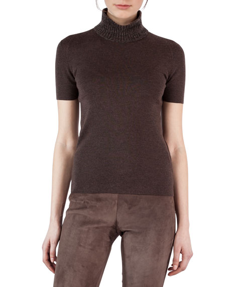 Short-Sleeve Turtleneck Sweater