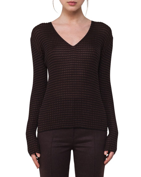 Check Ribbed V-Neck Sweater