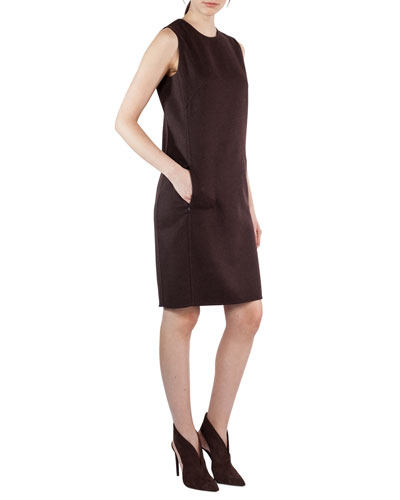 Sleeveless Round-Neck Sheath Dress