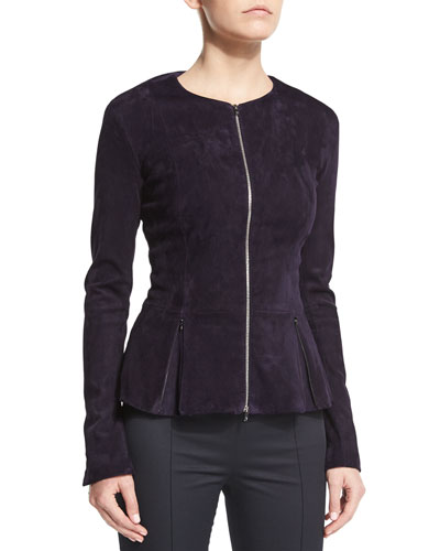 Anastra Zip-Front Suede Jacket, Grape