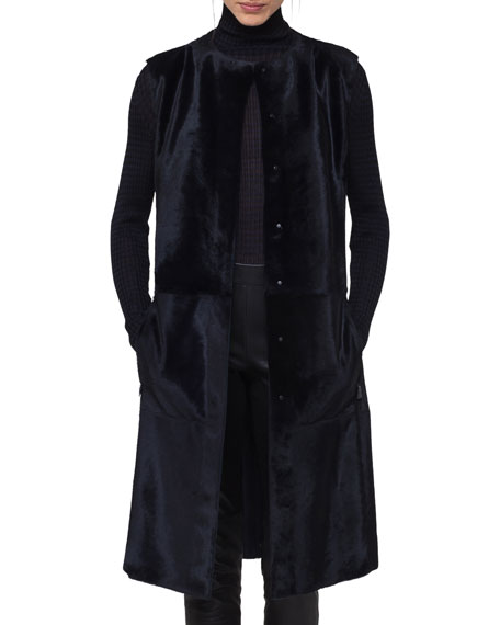 Reversible Snap-Front Fur Gilet