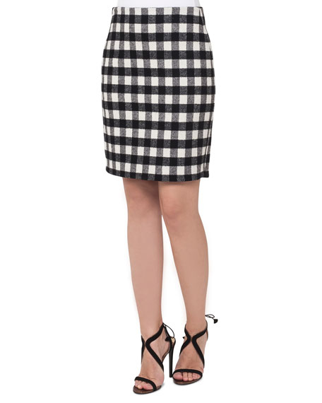 Buffalo Check Pencil Skirt