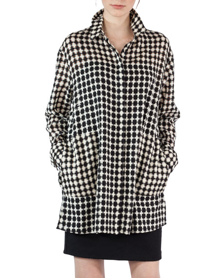 Square Check Tunic Blouse