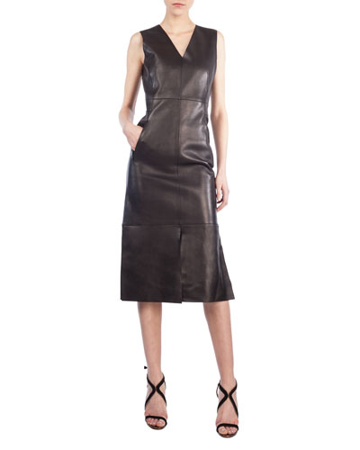 Sleeveless Leather V-Neck Dress